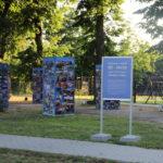 Wystawa zdjęć z okazji 50-lecia działalności Mosińskiego Ośrodka Kultury. Zdjęcia na konstrukcjach wśród drzew.