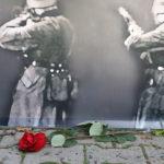 Róża pod ekspozycją upamiętniającą rozstrzelanych 20 października 1939 roku
